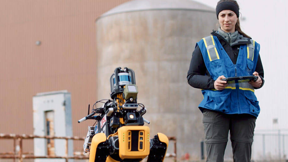"""Amanda Bouman, CoSTAR team member and Caltech graduate student, operates Spot, a robot provided by Boston Dynamics with autonomy """"smarts"""" provided by JPL."""