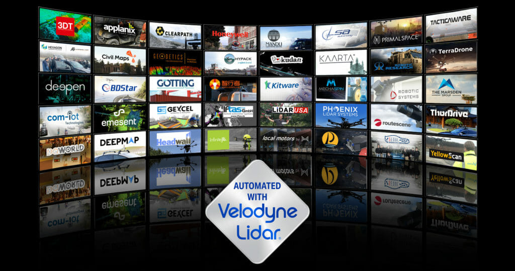 Automated with Velodyne Log in front of photos of Partner Logos and Applications Photos for Using Lidar Sensors