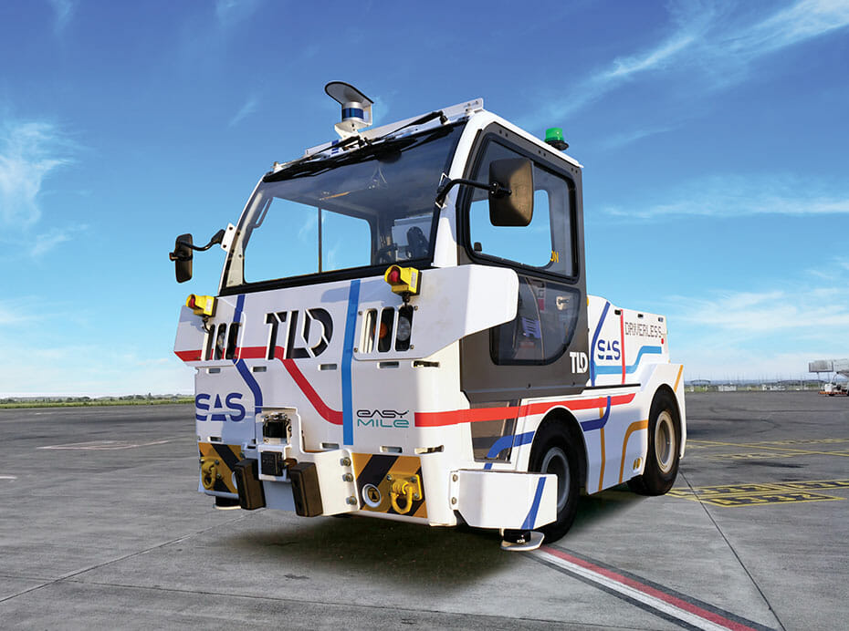 TLD's TractEasy® autonomous electric baggage tractor equipped with Velodyne lidar sensors