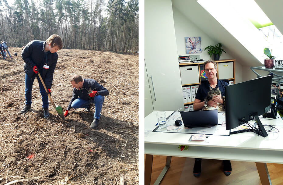Planting trees in a reforestation area near Erich's village in Germany; Erich working from home during the pandemic with Karma the cat