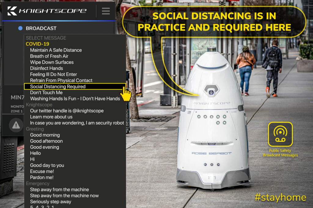 Knightscope Security Robot COVID-19 Messaging Options