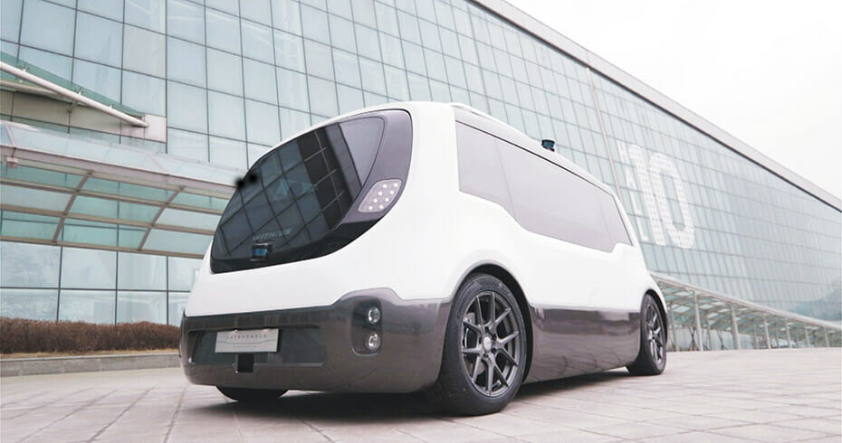 Unmanned Solution's Autonomous Shuttle WITH:US, equipped with Velodyne lidar sensors