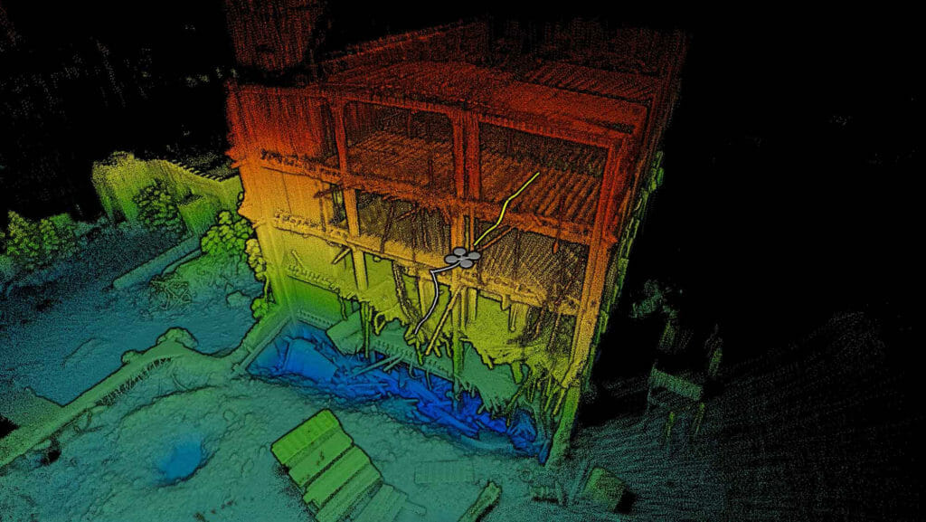 3D pointcloud generated by Exyn's AUV powered by Velodyne lidar sensors