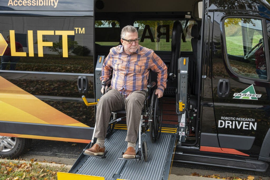 The ParaLift system, providing automated boarding and securement for wheelchair passengers, created by Robotic Research using Velodyne's Puck lidar sensor