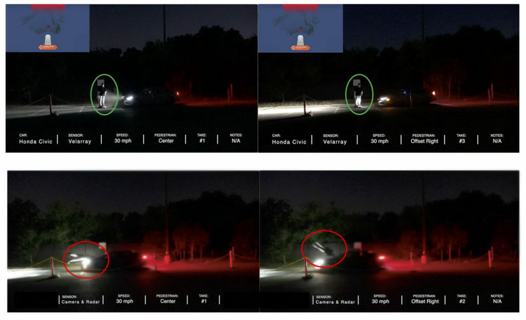 Images show vehicle with lidar-based PAEB stopping before adult target @ 50% overlap (above) and vehicle with camera and radar-based PAEB crashing into adult target (below).