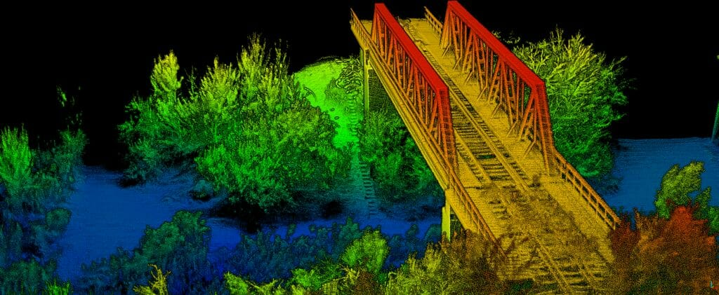 Combining lidar and INS data helps ensure accuracy on all objects within a point cloud, allowing users to make intelligent decisions based on the data.