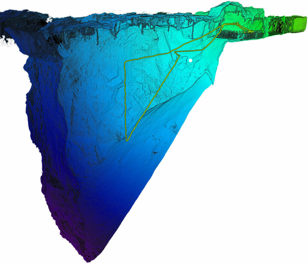 Point cloud of a mine stope created by the Hovermap using Velodyne's Puck LITE lidar sensor
