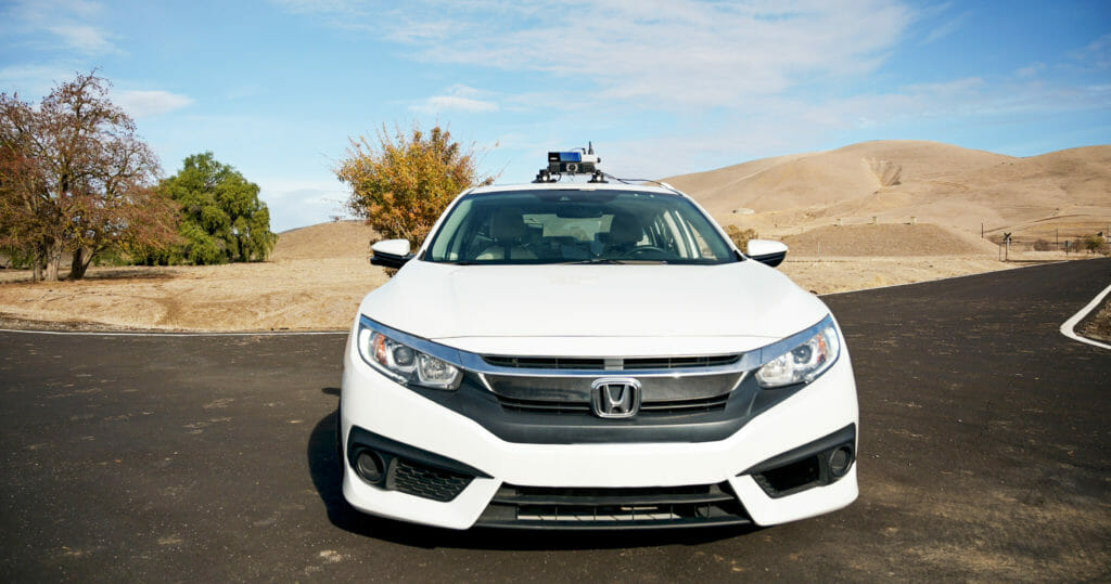 Testing vehicle equipped with Velodyne Lidar's Velarray solid state lidar sensor, ideal for ADAS applications, on the GoMentum Station testing course
