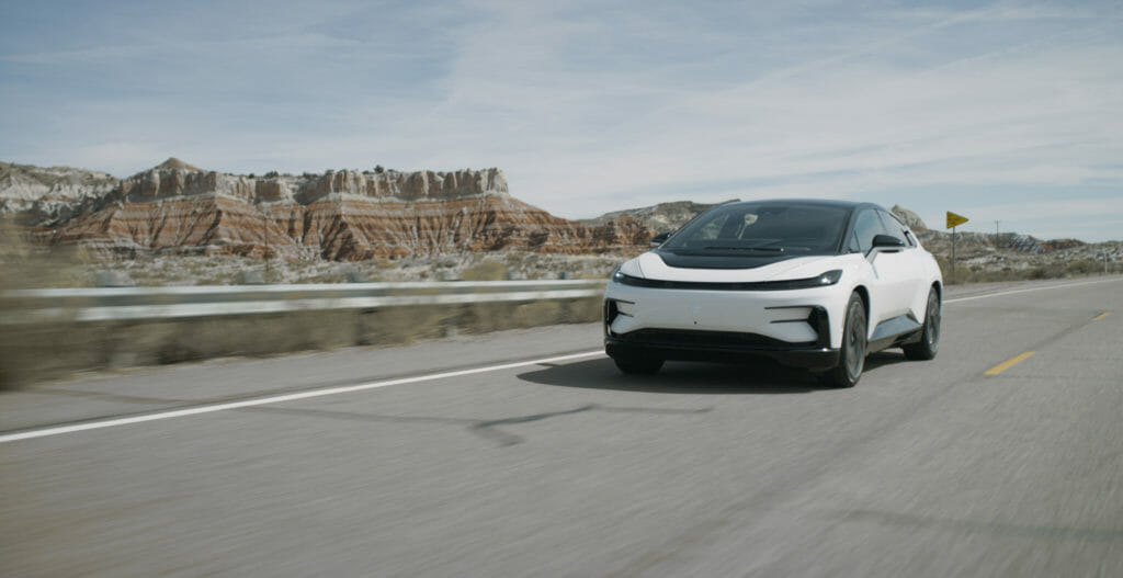 The FF 91, Faraday Future's luxury all-electric vehicle (EV) equipped with Velodyne's Velarray H800 lidar sensors