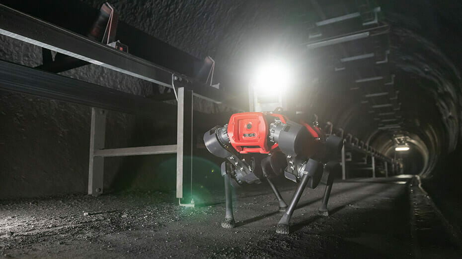 The ANYmal D reduces risks and downtime for routine inspection in a mining facility.